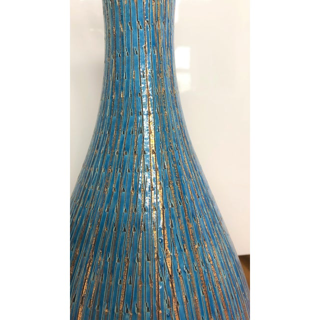 Mid-Century Modern Bitossi Teal and Gold Lamp For Sale - Image 3 of 4