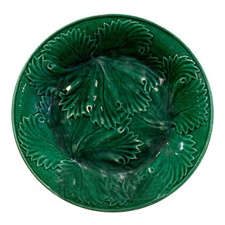 19th Century English Majolica Geranium Leaf Plate For Sale