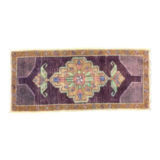 Vintage Turkish Handmade Purple Rug For Sale