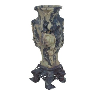 Chinoiserie Carved Soapstone Vase For Sale