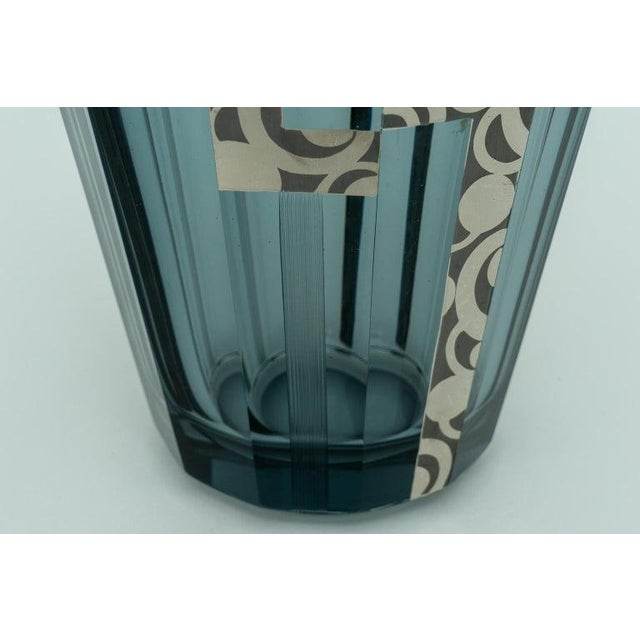 Art Deco 1920s Art Deco Crystal Vase With Silver Overlay For Sale - Image 3 of 9