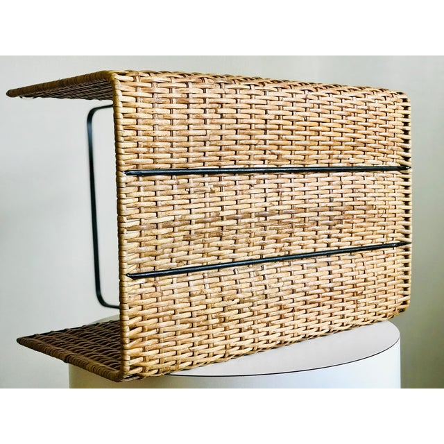 Mid Century Rattan and Iron Magazine Rack For Sale - Image 11 of 12