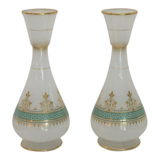 Matched Pair of 19th Century French Opal Vases, Green Enamel and Gilt Decoration For Sale