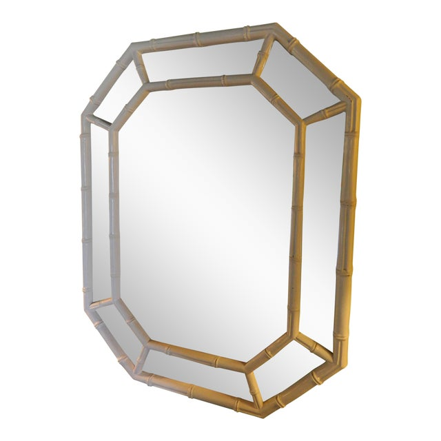 Vintage White Lacquer Faux Bamboo Mirror - Image 1 of 5