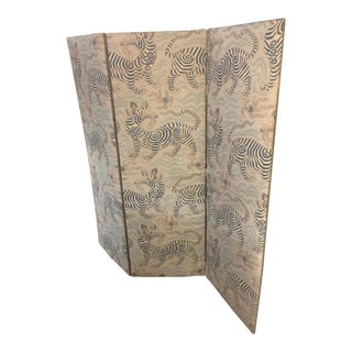 Custom Upholstered Screen in Clarence House Fabric For Sale
