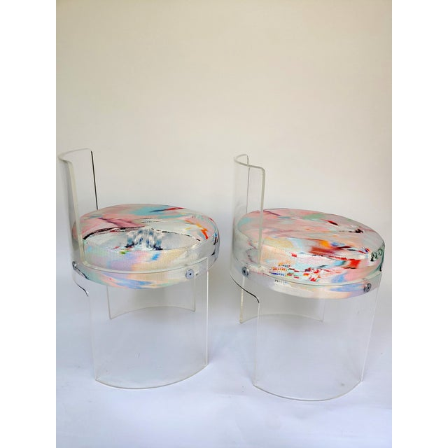 1970s Casati & Ponzio for Comfort Italy Lucite Barrel Chairs - a Pair For Sale - Image 5 of 8