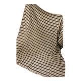 Image of Vintage Folk Art Homespun Brown Stripe Wool Hemp Throw Blanket For Sale