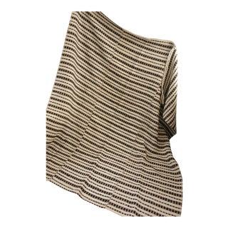 Vintage Folk Art Homespun Brown Stripe Wool Hemp Throw Blanket For Sale