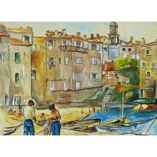 Vintage Mediterranean Port and Boats Landscape Painting For Sale