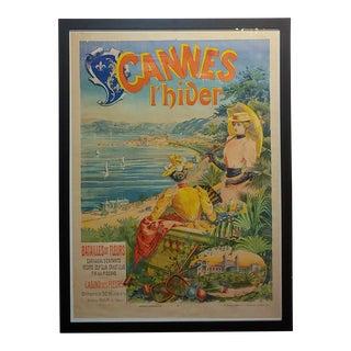 1892 Antique French Cannes L'Hiver, Casino Des Fleurs Poster For Sale
