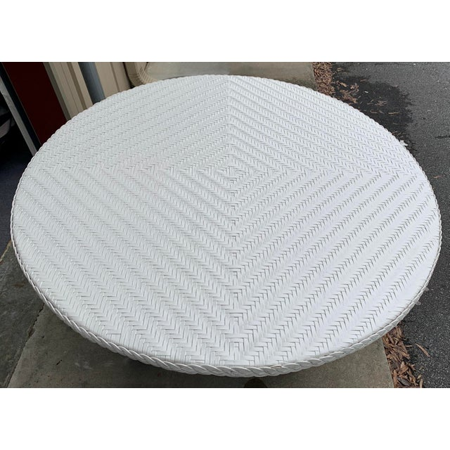 Traditional Large Round Wicker Pedestal Dining Table For Sale - Image 3 of 8