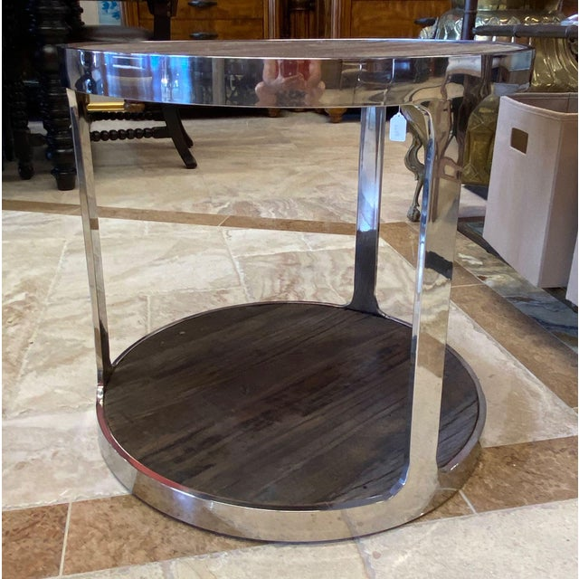 Early 21st Century Reclaimed Wood and Polished Chrome Accent Table For Sale - Image 5 of 10