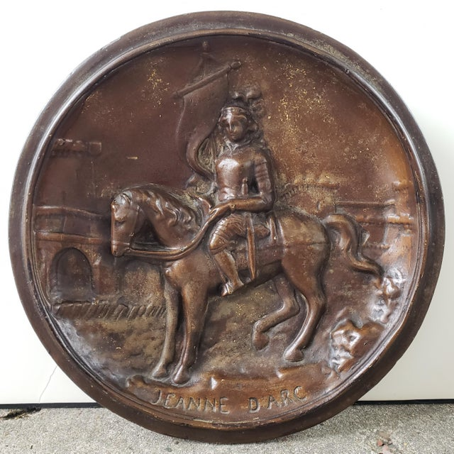 Early 20th Century French Jeanne d'Arc Raised Relief Plaster Wall Plaque For Sale - Image 4 of 4
