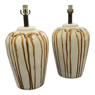 1970s Mid-Century Modern Cream Ceramic Vase Lamps - a Pair For Sale
