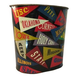 1950s Collegiate Pennant Connie Mack Philadelphia Metal Waste Basket For Sale
