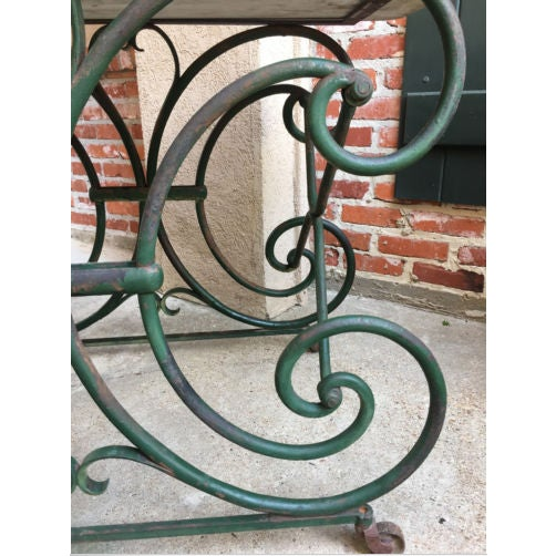 Late 19th Century 19th Century French Marble Pastry Baker's Table Art Nouveau Green Pâtisserie For Sale - Image 5 of 13