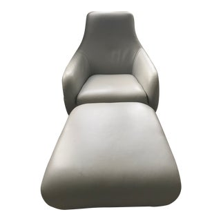 Modern Ligne Roset Shaman Gray Leather Lounge Chair and Ottoman For Sale