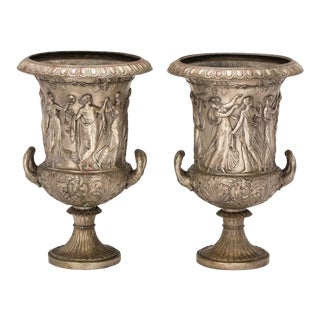 Urns, 19th Century Medici Style Bronze, Pair For Sale