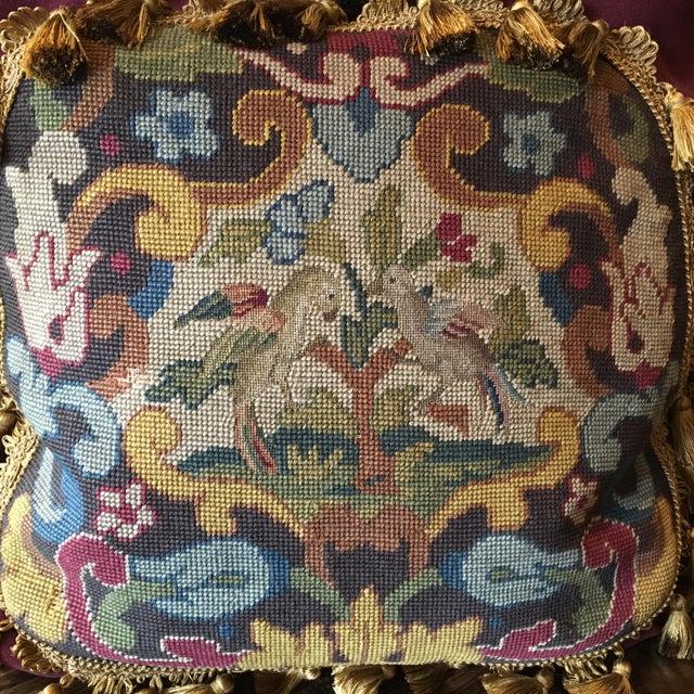 Antique Velvet Burgundy & Gold Needlepoint Pillow For Sale In Dallas - Image 6 of 10