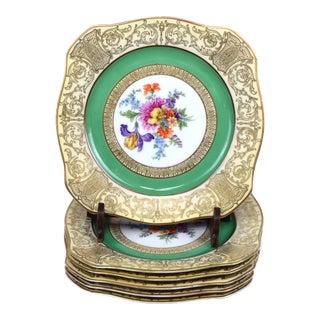 Antique Bavarian Floral Porcelain Dessert Plates Set of 6 For Sale
