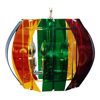 1970's Mid-Century Multicolored Lucite Chandelier For Sale