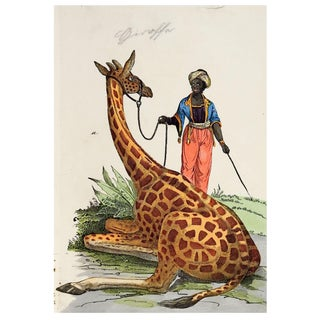 Hand Colored Giraffe Woodcut Print