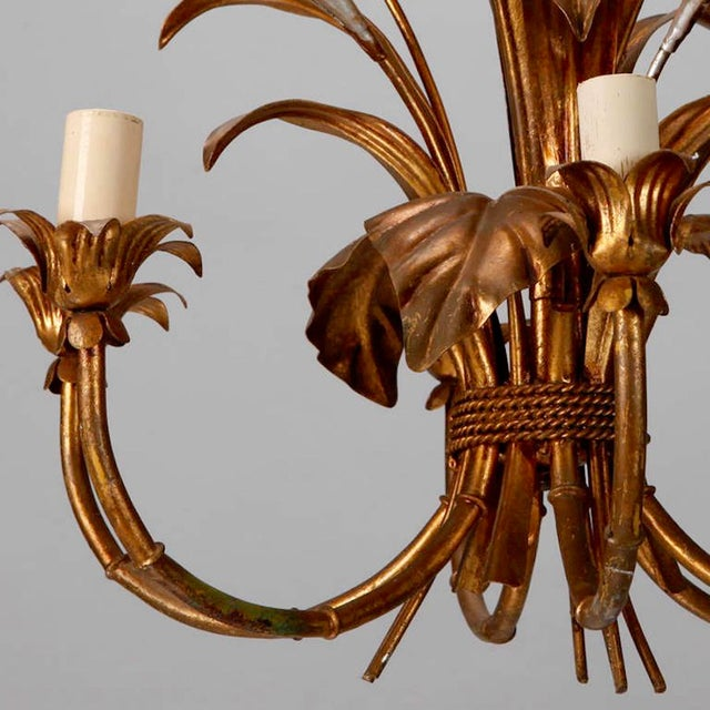 Italian Six Light Gilded Tole Chandelier With Calla Lilies and Crystals For Sale - Image 4 of 6