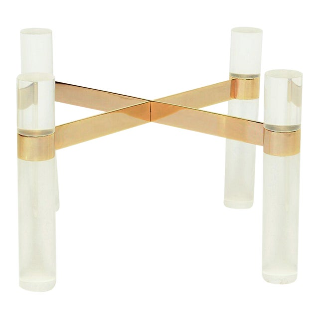 Karl Springer Lucite Brass Hollywood Cocktail Coffee Table Base For Sale
