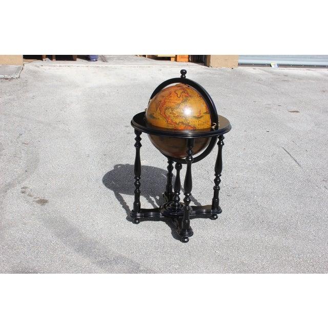 French Mid-Century Solid Mahogany World Globe Bar - Image 2 of 11