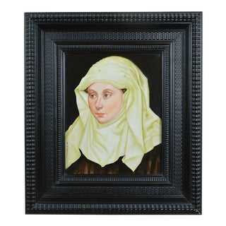 19th Century Framed Painted Porcelain Portrait of a Woman