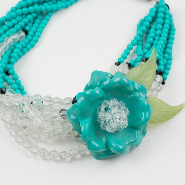 Lucite Angela Caputi Turquoise and Black Resin Necklace with Oversized Flower For Sale - Image 7 of 13