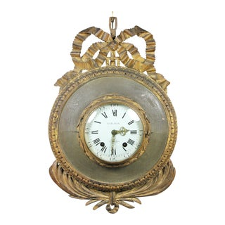 Louis XVI Giltwood and Painted Wall Clock For Sale