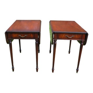 Vintage Imperial Federal Mahogany Barley Twist Drop Leaf Pembroke Tables - a Pair For Sale