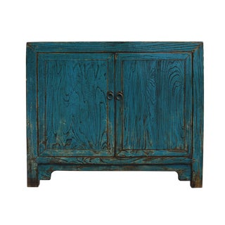 Oriental Distressed Bright Blue Credenza Sideboard Table Cabinet For Sale