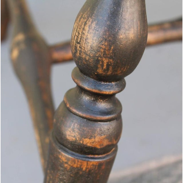Set of Four 18th Century Black Painted Brace Back Windsor Chairs - Image 9 of 10