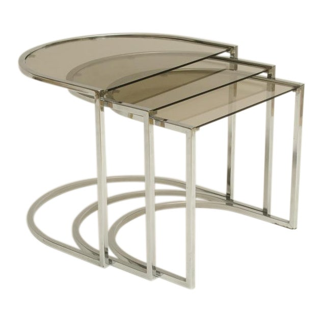 Set of Three Mid-Century Glass and Chrome Nesting Tables by Milo Baughman For Sale