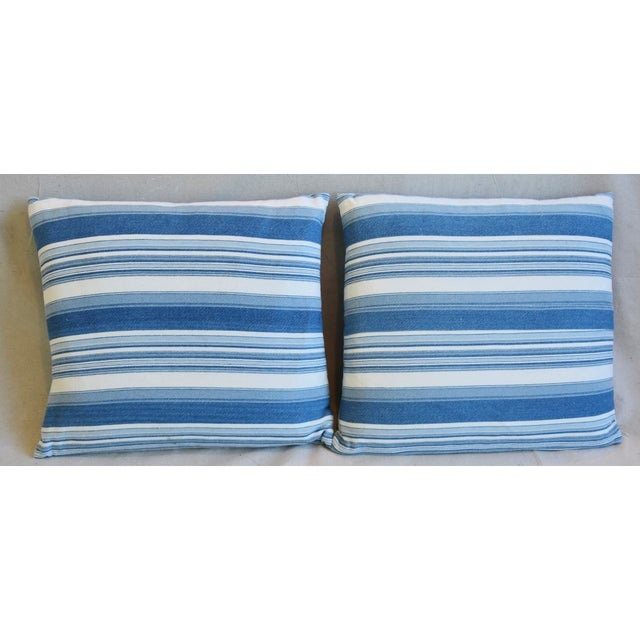 Pair of large custom-tailored double sided/reversible pillows in a vintage/professionally cleaned ultra soft blue and...