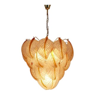 Murano Glass Leaves Chandelier by A.V. Mazzega