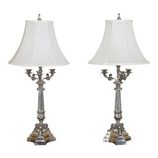 Currey & Co. Silver Plated Candelabra Table Lamps - A Pair