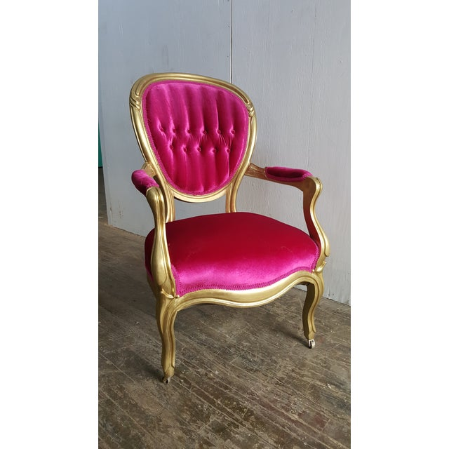 Textile Victorian Antique Pink Velvet and Gold Chair For Sale - Image 7 of 7