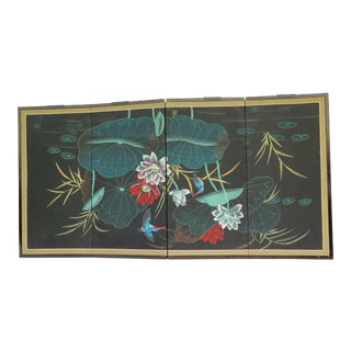Vintage Hand Painted Japanese Wall Screen For Sale