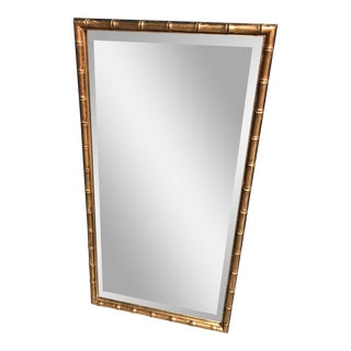 Mid Century Modern Faux Bamboo Gilt Gold Beveled Glass Wall Mirror For Sale
