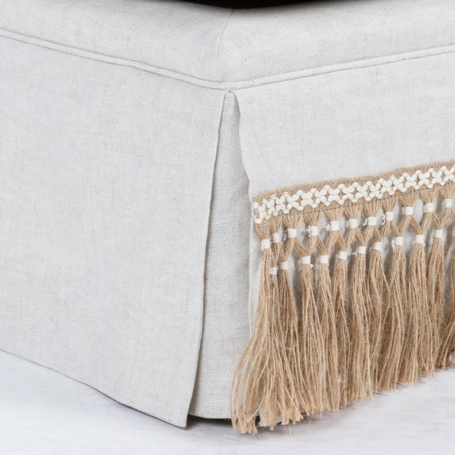 Casa Cosima Skirted Slipper Chair in Oatmeal Linen For Sale In Los Angeles - Image 6 of 8