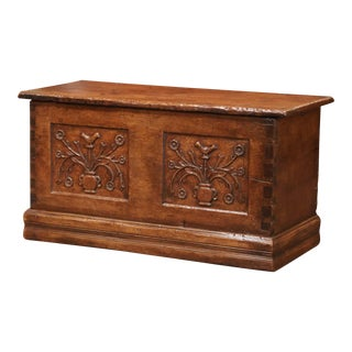18th Century French Louis XIII Carved Chestnut Coffer Trunk From the Pyrenees For Sale