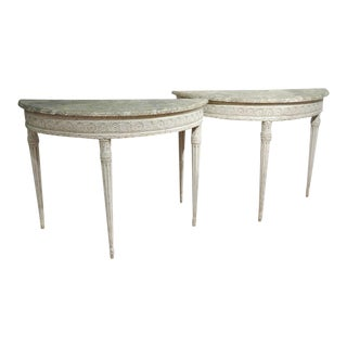 19th Century Louis XVI Carved Painted Demilune Console Tables - A Pair