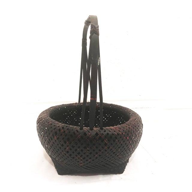 Japanese Antique Japanese Woven Ikebana Basket For Sale - Image 3 of 12