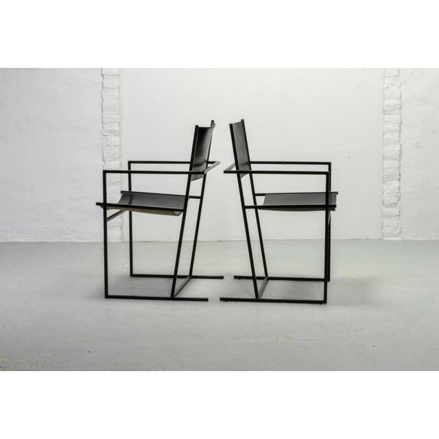 Contemporary Set of Two Mid-Century Dutch Design Black Leather and Metal Dining Chairs Ag-6 by Albert Geertjes, the Netherlands, 1984 For Sale - Image 3 of 11