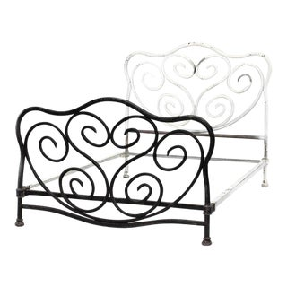 American Victorian Painted Iron Bentwood Design Bed For Sale