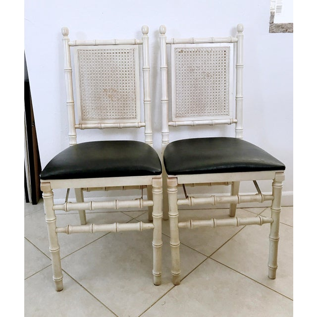 1960's Stackmore Faux Bamboo Cane Back Folding Chair- a Pair For Sale - Image 10 of 10