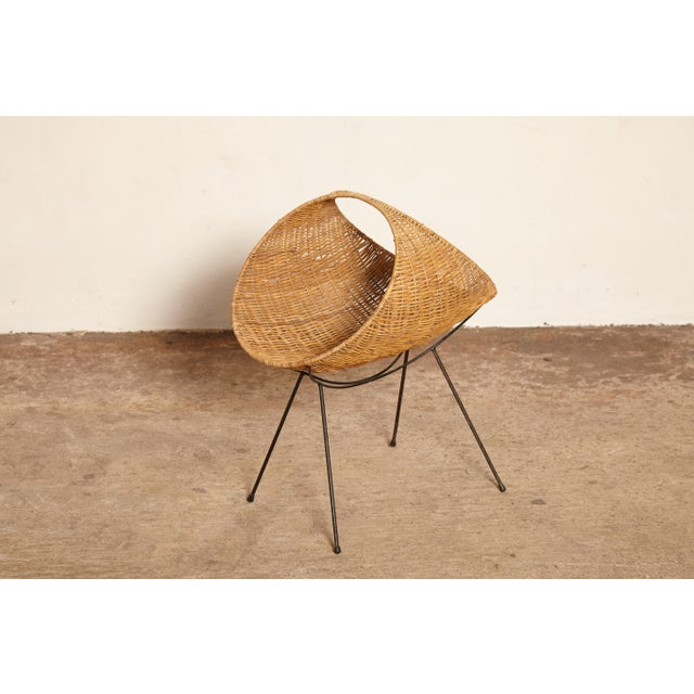 Caning Cane Magazine Rack, Attributed to Franco Campo, Carlo Graffi, 1950s, Italy For Sale - Image 7 of 9